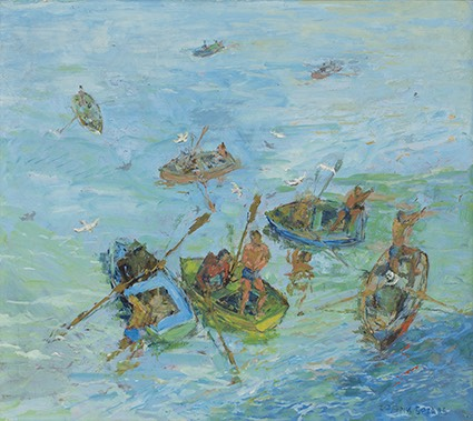 339 'Swimming boys and boats' 50 x 56,5 cm Floris van der Merwe SA