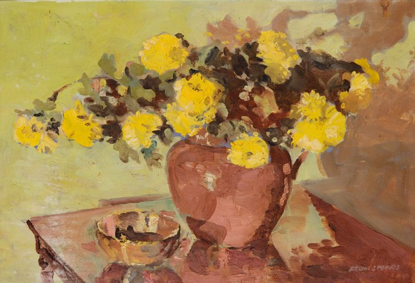 58 Brown vase with yellow flowers 34x50 Portia UK
