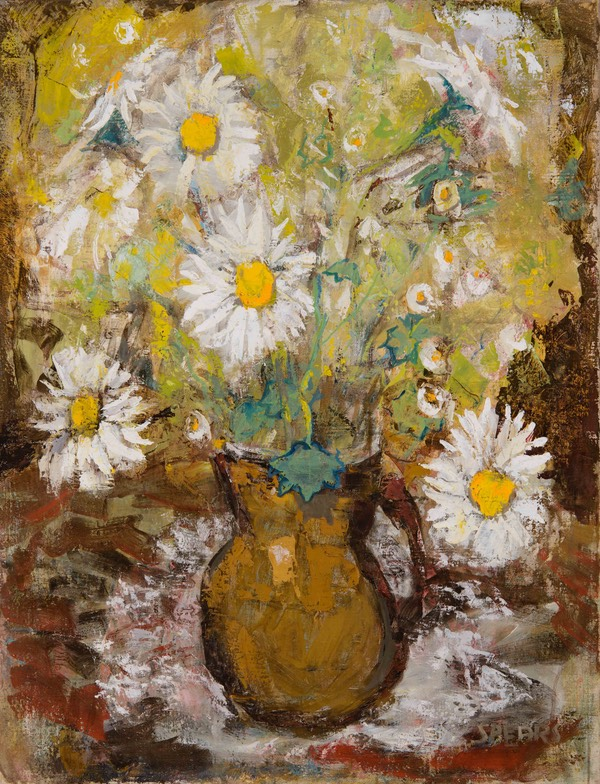 72 Brown vase with daisies 62x47 Libertas