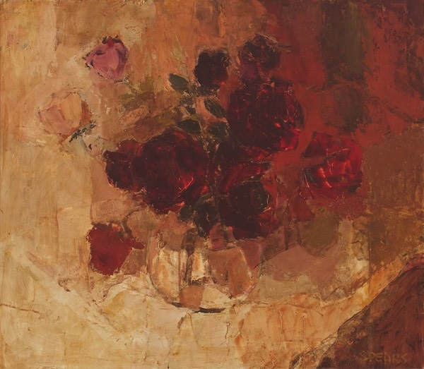 305 Dark red roses 52x60 Ruth Allen  SA BFC0098