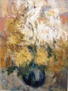 331 Yellow and white dalhias in a blue vase     Bernie Oberhoffer SA